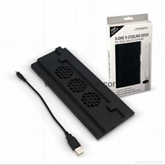 Cooling Fan Host Vertical Bracket Stand 2-USB Hub Charging Dock 4Joystick Caps