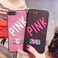 2018 new embroidery IPHONE8X glitter powder full package silica gel PINK 7PLUS