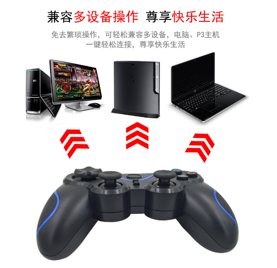 PS3 wireless 2.4G game controller PC P3dual vibration handle with receiver 12