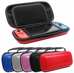 廠家直銷 nintendo switch包 碳纖維紋路 帶中隔硬包 主機手柄包