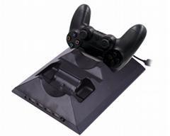 厂家直销PS4SLIM手柄双座充ps4slim无线手柄充电器TP4002S