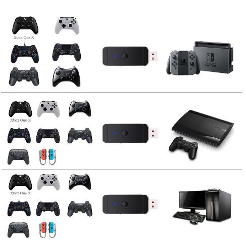 新的蓝牙有线转换器适配器适用于PS3,PS4,XBOX 360,XBOXONE / Slim / X,Switch Pr 8