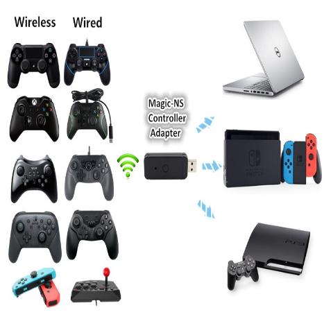 新的蓝牙有线转换器适配器适用于PS3,PS4,XBOX 360,XBOXONE / Slim / X,Switch Pr 7