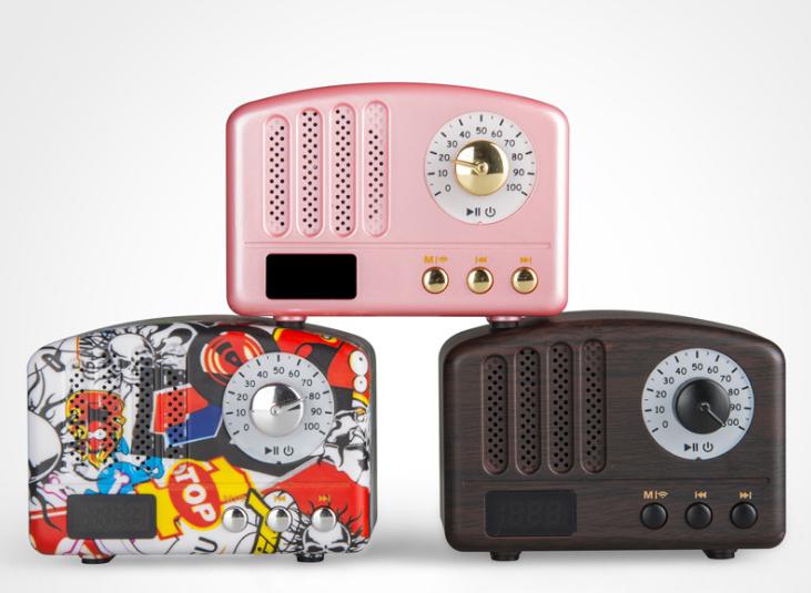 新款蓝牙音响无线收音机复古迷你促销电子礼品家居便捷插卡小音箱 1