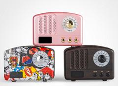 新款蓝牙音响无线收音机复古迷你促销电子礼品家居便捷插卡小音箱