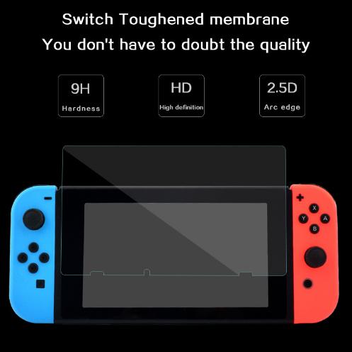 現貨Nintendo Switch鋼化膜套裝NS防塵塞套裝 Switch藍光高清膜 6