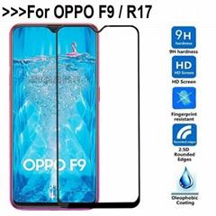 適用於oppo r17鋼化膜全屏滿版OPPO F9手機膜高清保護貼膜防指紋