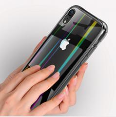 iPhoneXR极光手机壳创意全包透明钢化玻璃iPhoneXSmax手机保护套