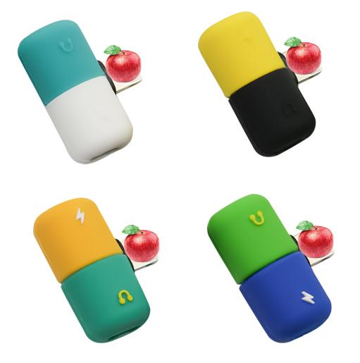 工厂直销新款卡通硅胶充电听歌二合一音频线苹果转接 4
