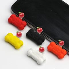 工廠直銷新款卡通硅膠充電聽歌二合一音頻線蘋果轉接