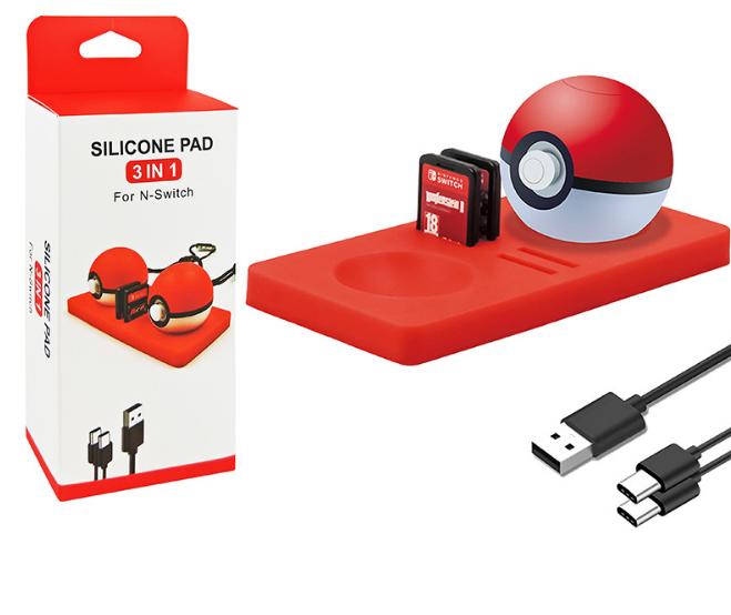 现货switch精灵球保护垫三合一套装 switch精灵球收纳卡带硅胶垫 1