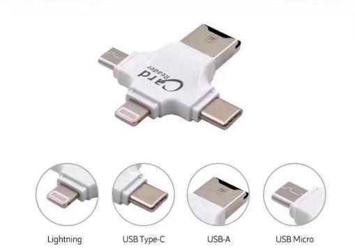 四合一多功能tf卡读卡type-c接口适用于苹果安卓手机otg读卡器 2