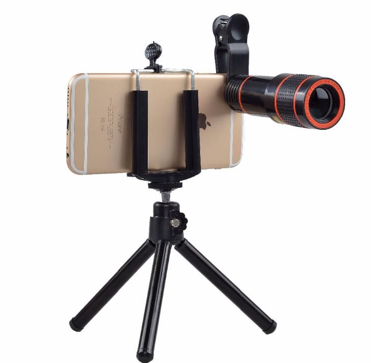 10合一 8X12X长焦手机通用镜头 12倍望远镜 广角微距鱼眼自拍杆 15