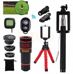 10合一 8X12X长焦手机通用镜头 12倍望远镜 广角微距