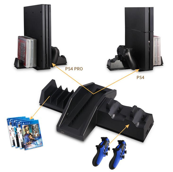 PS4手柄雙座充 ps4手柄七彩雙充支架 無線遊戲手柄座充電底座 12