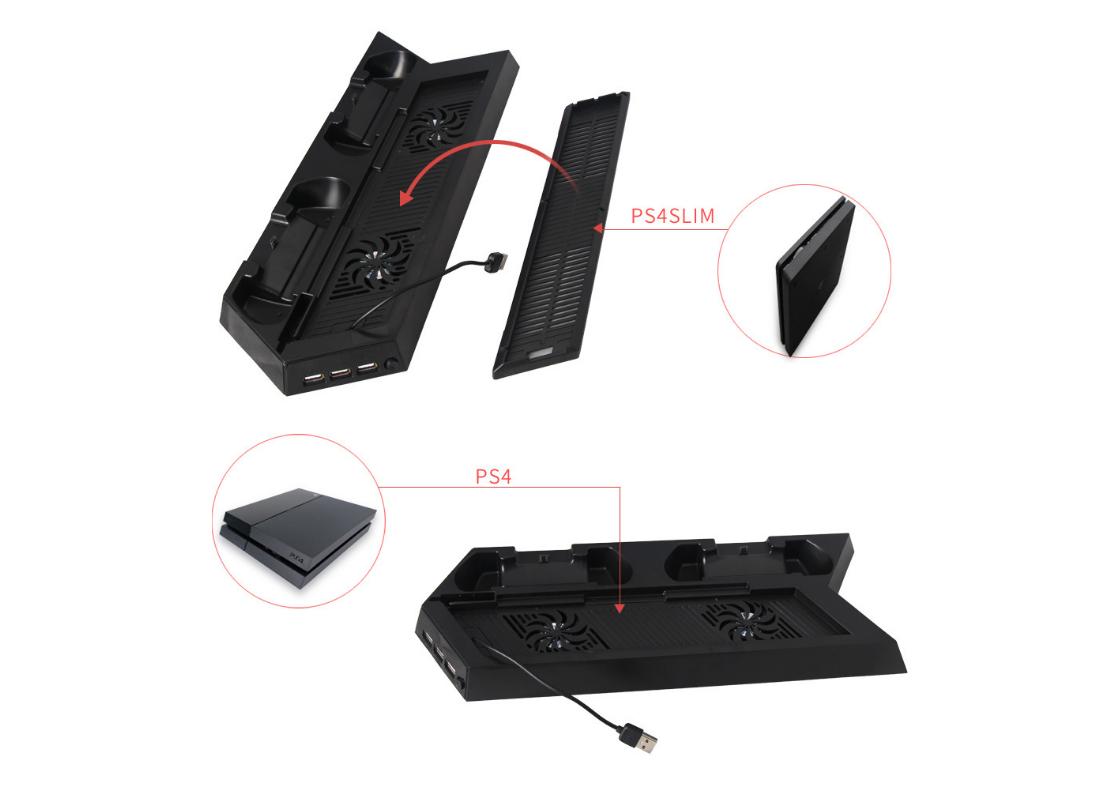 PS4手柄雙座充 ps4手柄七彩雙充支架 無線遊戲手柄座充電底座 15