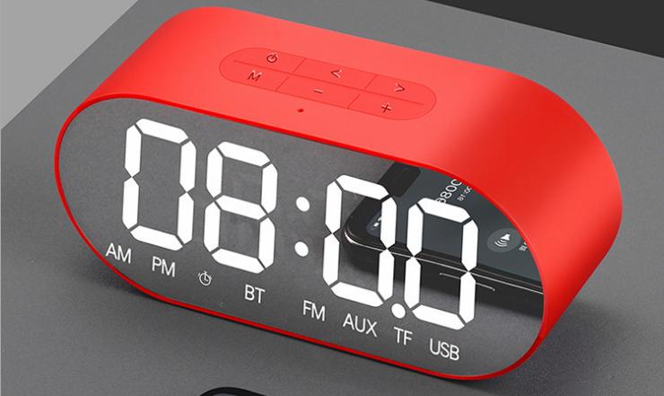 新款P1鏡面鬧鐘藍牙音箱家用辦公收音機手機插卡電腦音響 6