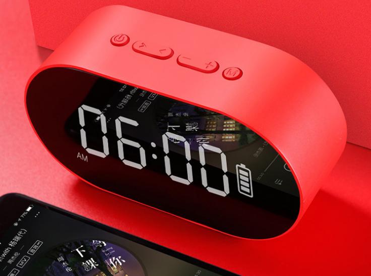 新款P1鏡面鬧鐘藍牙音箱家用辦公收音機手機插卡電腦音響 7