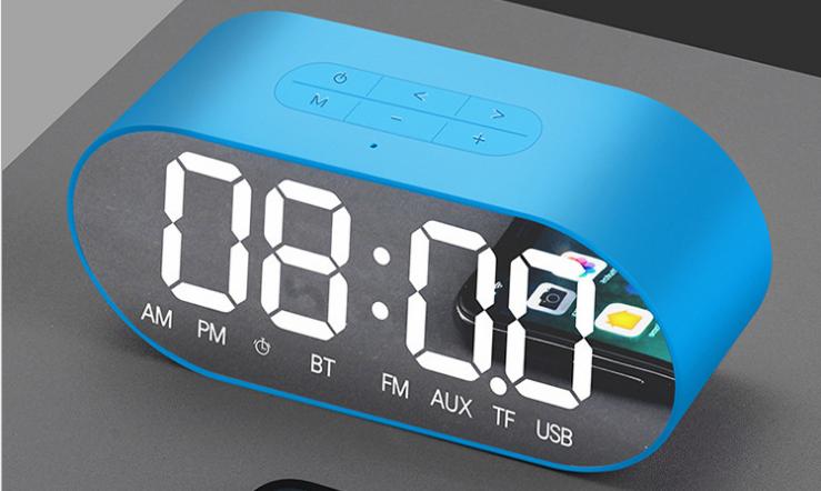 新款P1鏡面鬧鐘藍牙音箱家用辦公收音機手機插卡電腦音響 8