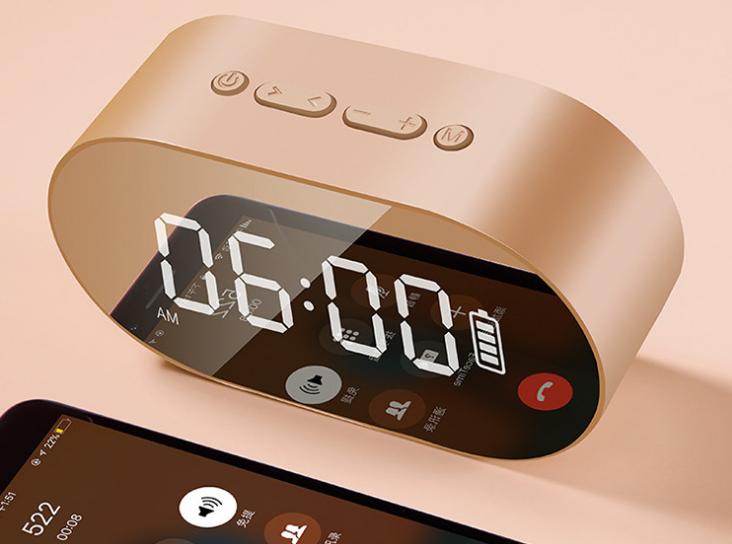 新款P1鏡面鬧鐘藍牙音箱家用辦公收音機手機插卡電腦音響 10