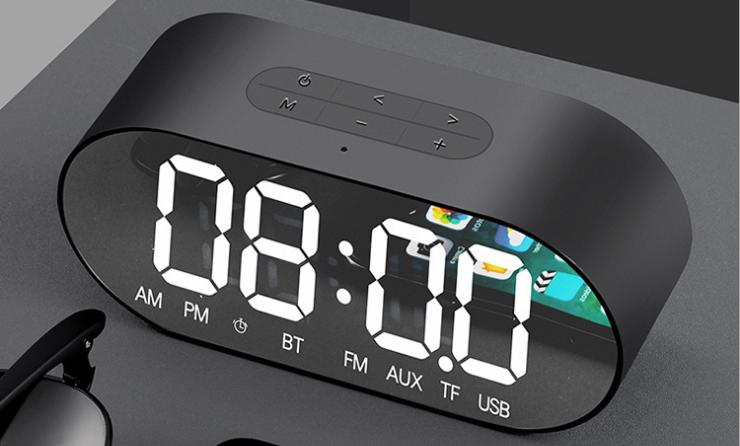 新款P1鏡面鬧鐘藍牙音箱家用辦公收音機手機插卡電腦音響 12