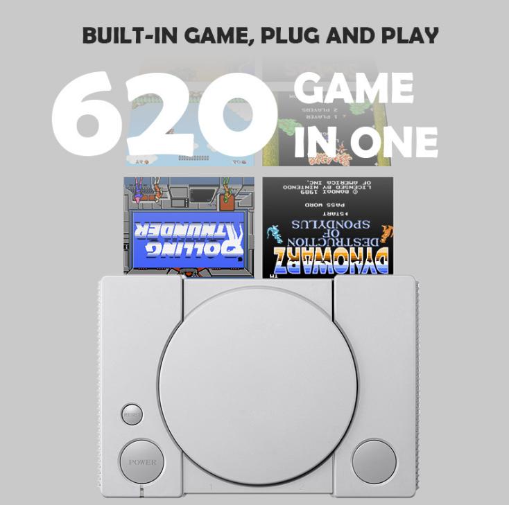 經典8位PS1迷你家用遊戲機 內置620款遊戲經典復古雙人對戰遊戲機