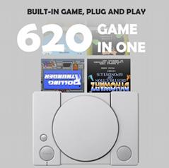 经典8位PS1迷你家用游戏机 内置620款游戏经典复古双人对