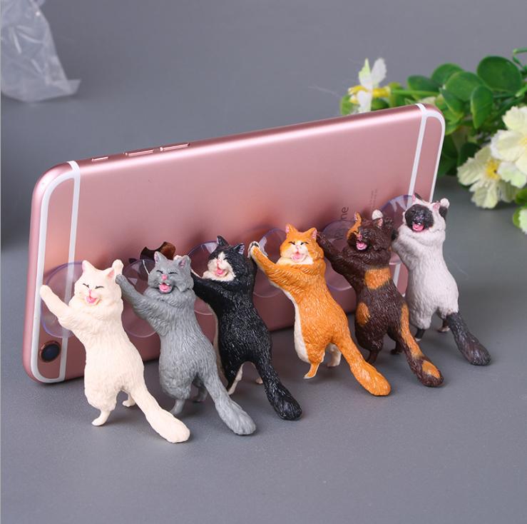 新款创意桌面猫咪君猫咪救援军吸盘手机支架卡通可爱小猫精美礼品 1