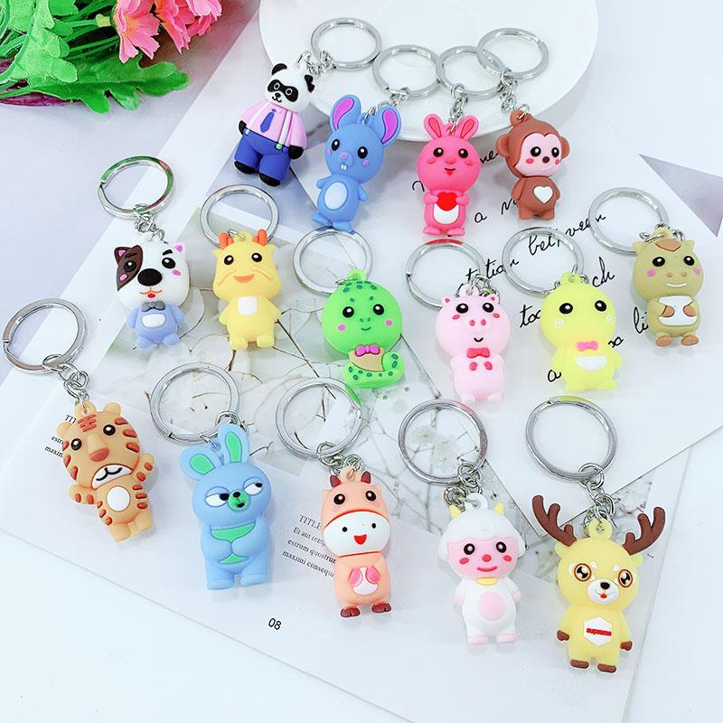 PCV Soft Plastic Bear Keychain Cartoon Doll Cute Bear Bag Pendant Car Key Ring  4