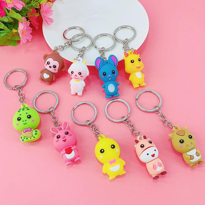 PCV Soft Plastic Bear Keychain Cartoon Doll Cute Bear Bag Pendant Car Key Ring  13