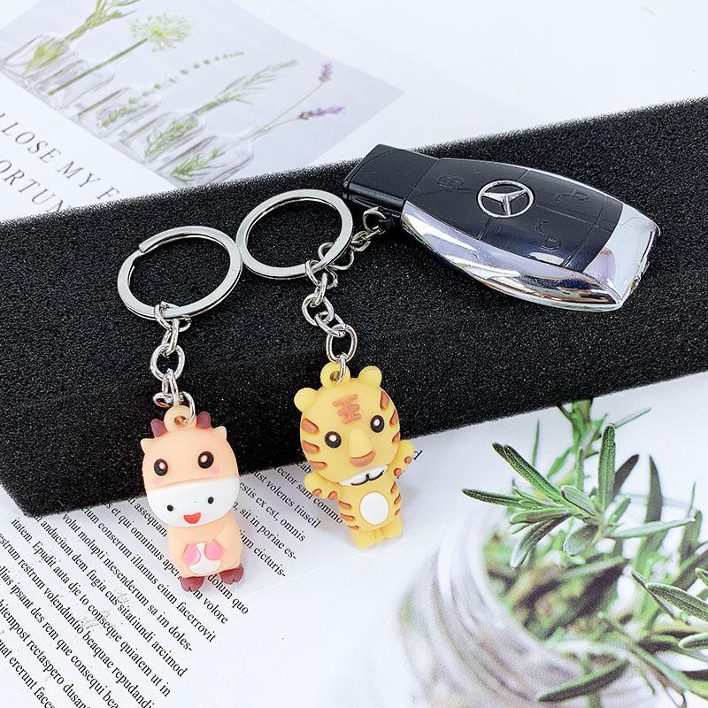 PCV Soft Plastic Bear Keychain Cartoon Doll Cute Bear Bag Pendant Car Key Ring  15