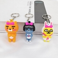 PCV Soft Plastic Bear Keychain Cartoon Doll Cute Bear Bag Pendant Car Key Ring  16