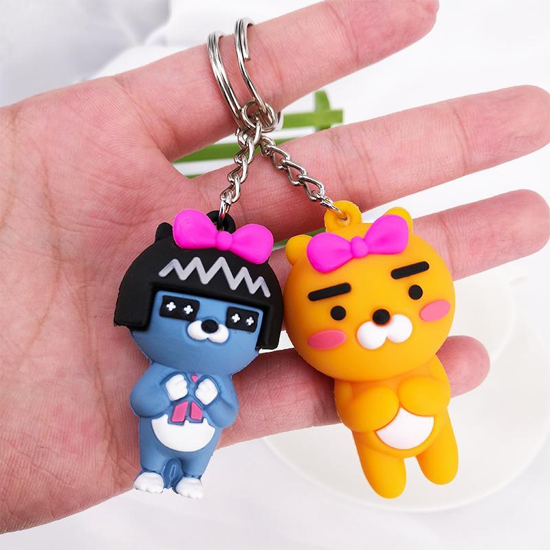 PCV Soft Plastic Bear Keychain Cartoon Doll Cute Bear Bag Pendant Car Key Ring  17
