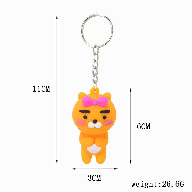 PCV Soft Plastic Bear Keychain Cartoon Doll Cute Bear Bag Pendant Car Key Ring  18