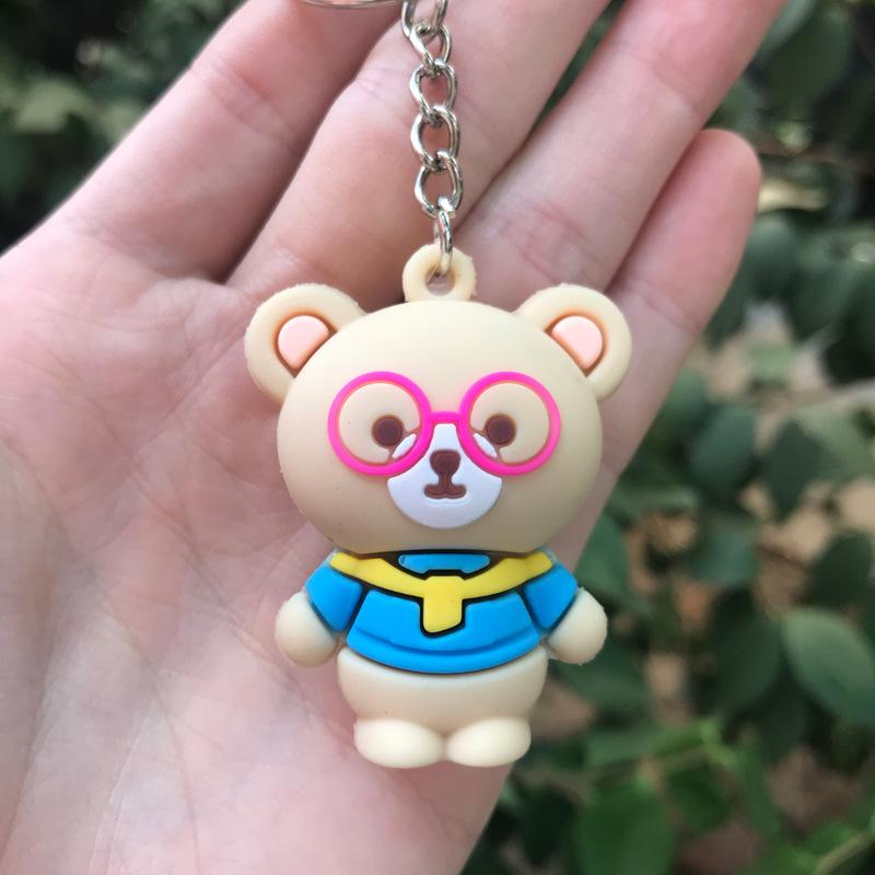 PCV Soft Plastic Bear Keychain Cartoon Doll Cute Bear Bag Pendant Car Key Ring  5