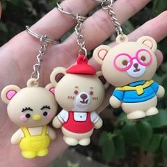 PCV Soft Plastic Bear Keychain Cartoon Doll Cute Bear Bag Pendant Car Key Ring