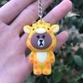 PCV Soft Plastic Bear Keychain Cartoon Doll Cute Bear Bag Pendant Car Key Ring  20