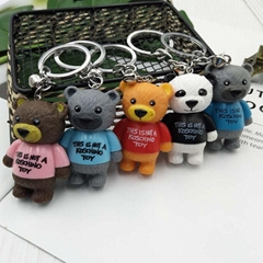 wholesale random cartoon pvc key chain keyring bag pendant teddy bear keycha