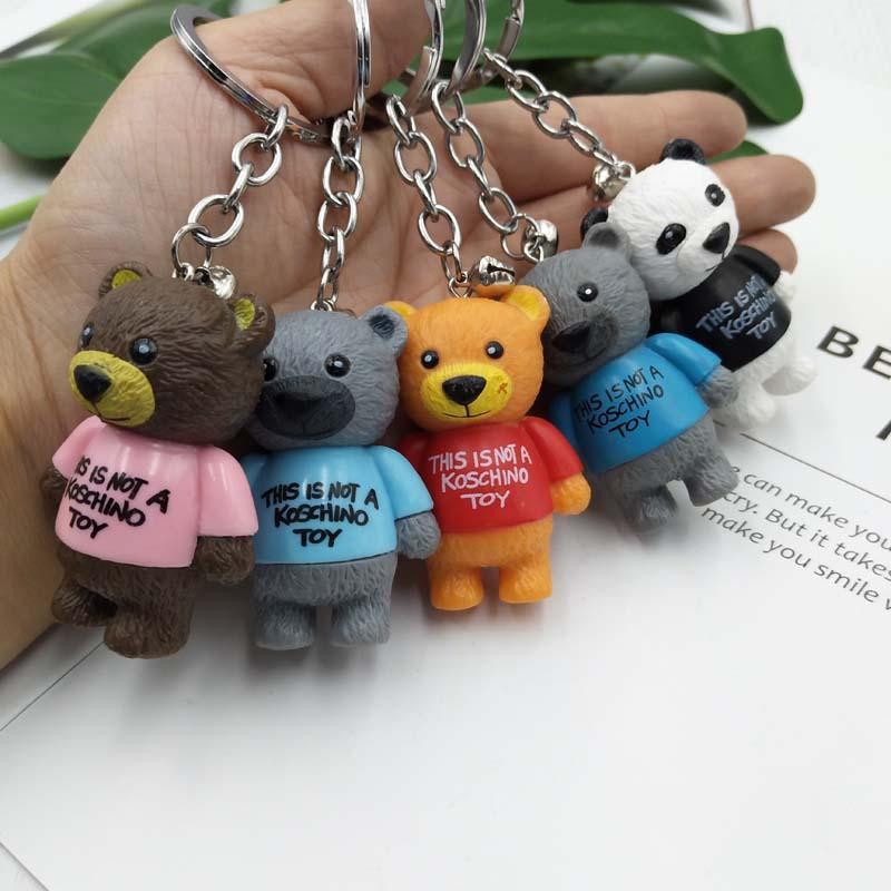 wholesale random cartoon pvc key chain keyring bag pendant teddy bear keycha 2
