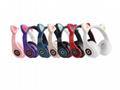 爆款跨境电商猫耳发光头戴式蓝牙耳机无线游戏运动橡胶磨砂款厂家