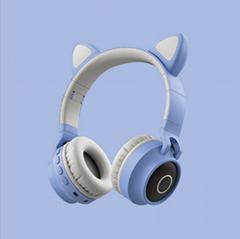 新款可愛貓耳朵學生頭戴式卡通動漫遊戲電競無線藍牙耳機跨境爆款