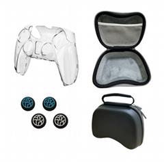 PS5遊戲手柄包包ps5遊戲手柄搖桿帽 ps5手柄水晶殼六合一套裝