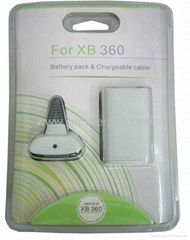 XBOX360 2100mah Battery &chargeable cable,battery holder for wireless controller