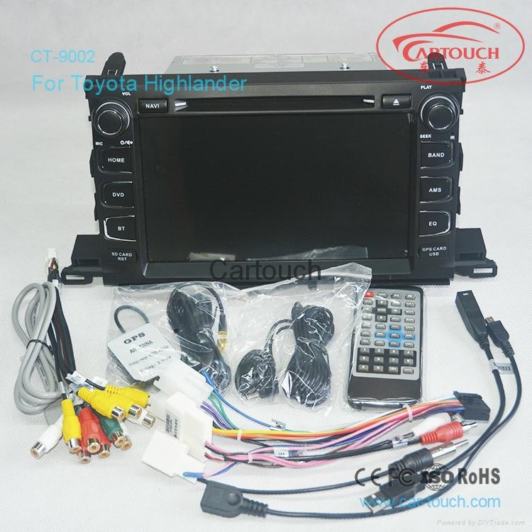 Cartouch® Car DVD GPS Navigation for Toyota Highlander 2015 Radio iPod BT  5