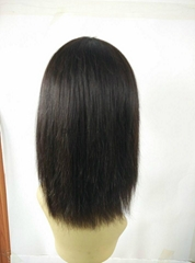 "14""Brazilian Virgin Hair Straight hair Lace Front Wigs With Straight Hair Bangs"
