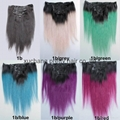 New colorful clip in hair extension 1b