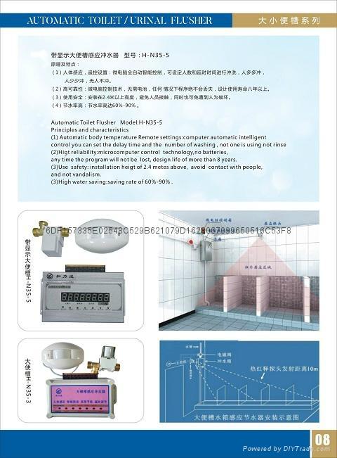 学校专用高水位便槽带显示器智能冲便器 5