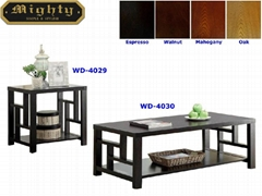 2PCS Grid Side Panel Wooden Black Ash Modern Coffee Table