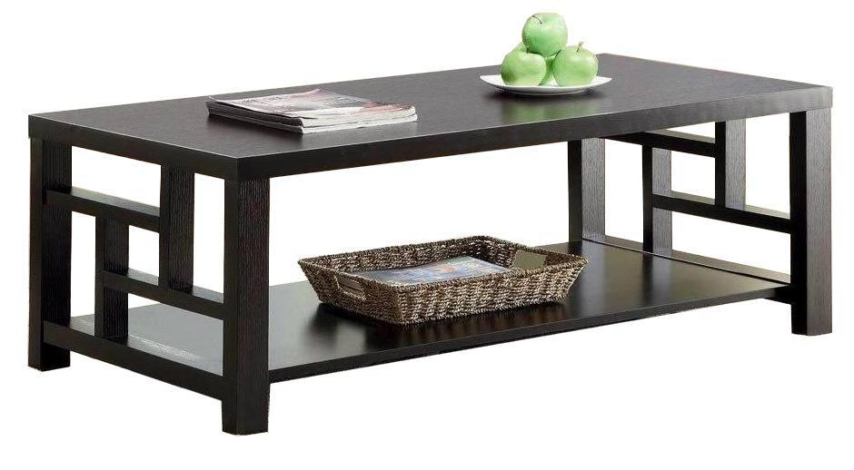 2PCS Grid Side Panel Wooden Black Ash Modern Coffee Table