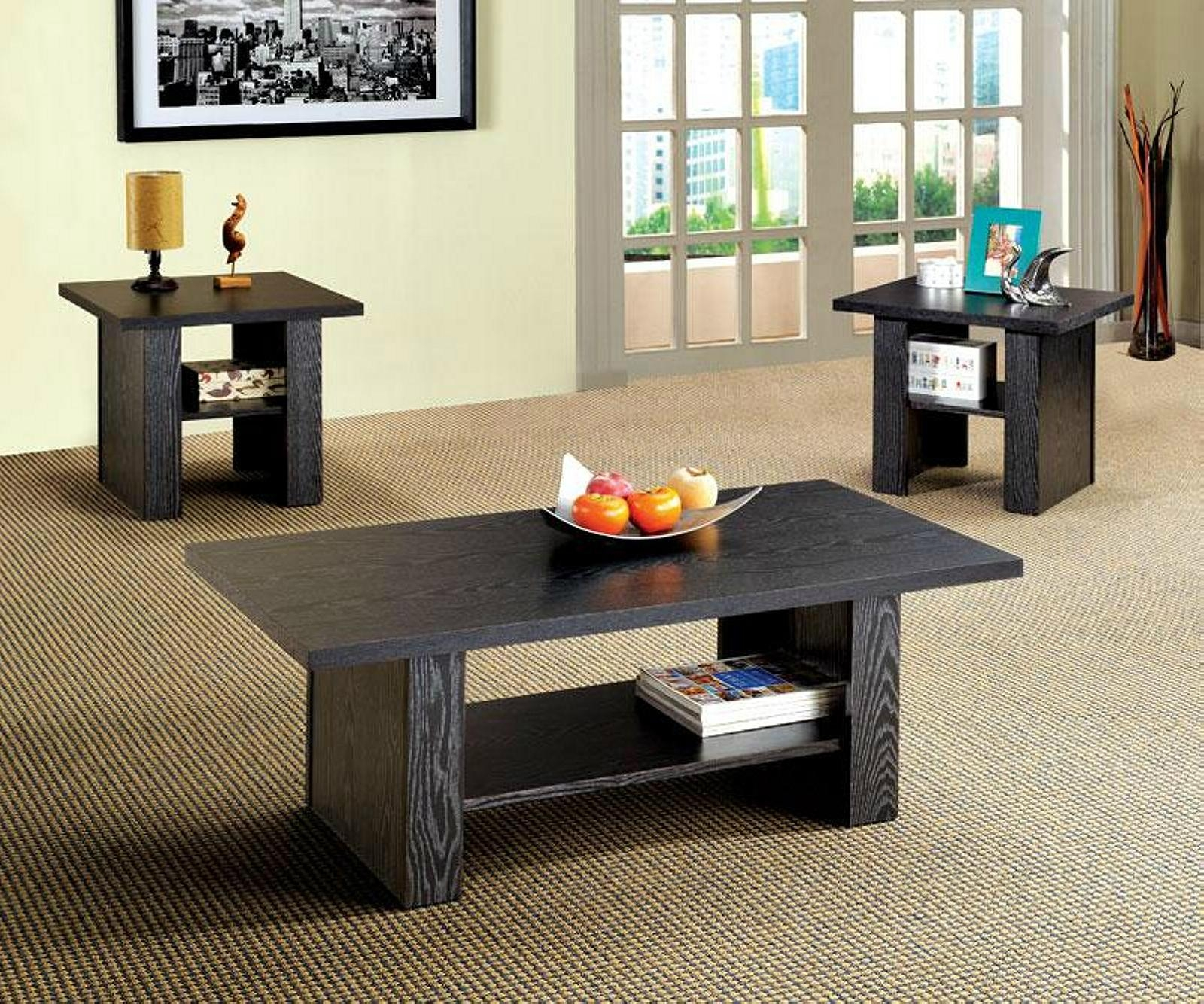 2PCS Wooden Living Room 3D Paper Veneer Black Oak Coffee Tables - WD ...